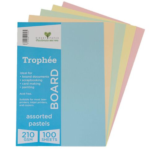 Trophee Board 210gsm 100 Pack Pastels Assorted A4