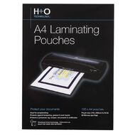 H+O Hot Laminating Pouch A4 Size 100 Pack 80 Microns Clear