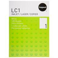 Impact Labels 100 Sheets A4/1 Sticker Sheet White