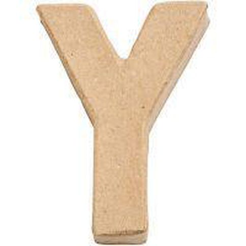 Paper Mache Alphabet Small Symbol Y 10cm Brown