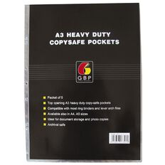Office Supply Co Copysafe Pockets Heavy Duty PVC 5 Pack Clear A3