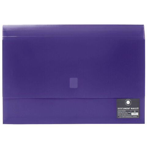 Office Supply Co Document Wallet Gusset/Velcro Closure Purple A4
