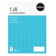 Impact Exercise Book 1J8 5mm Quad 36 Leaf Blue