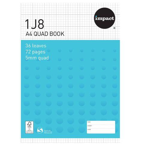 Impact Exercise Book 1J8 5mm Quad 36 Leaf Blue