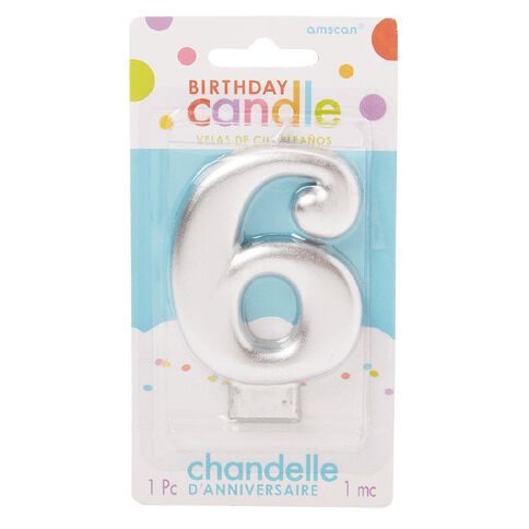Candle Metallic Numeral #6 Silver