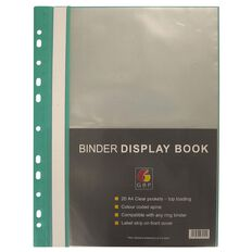 GBP Stationery Binder Display Book 20 Pocket Green A4