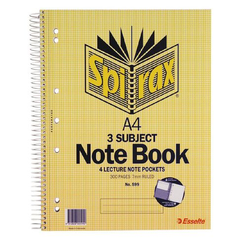 Spirax 3 Subject Book 7mm 150 Leaf Yellow A4