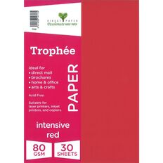 Trophee Paper 80gsm 30 Pack Intensive Red A4