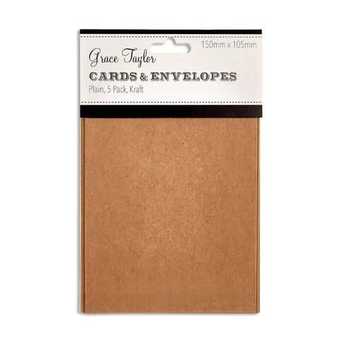 Grace Taylor Cards & Envelopes 15 x 10cm 5 Pack Plain Kraft Brown