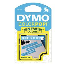 Dymo Label Tape Colour Pop White/Glitter Blue 3m x 12mm