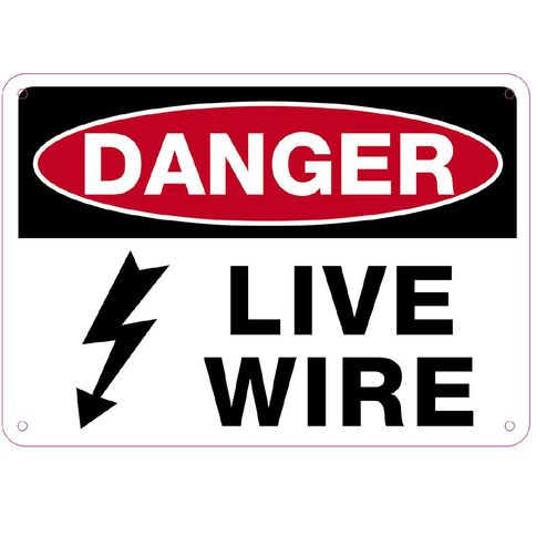 WS Danger Live Wire Sign Small 240mm x 340mm