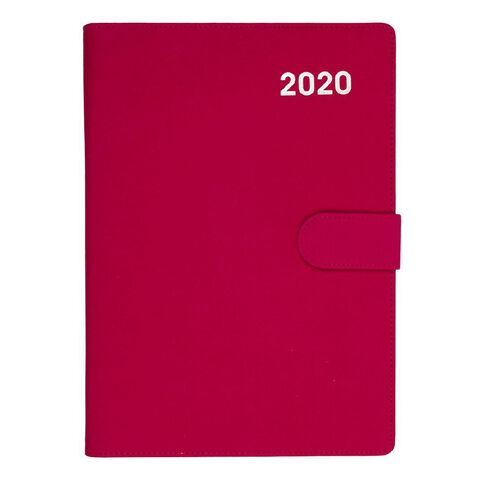 Dats Diary 2020 Day To Page PU Embossed With Clasp Assorted A4