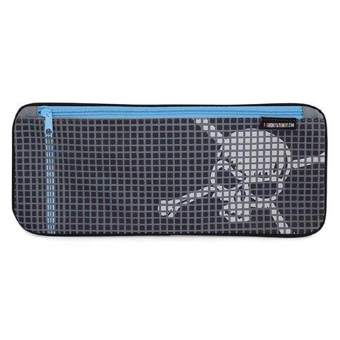 Pencil Case Grid Skulls Blue