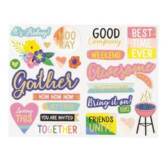 Rosie's Studio Lets Get Together Chipboard Embellishments 2 Sheets