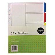 Impact PP Dividers 5 Tab Multi-Coloured