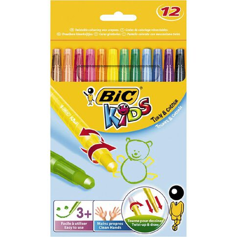 Bic Kids Turn & Colour Wax Crayons 12 Pack