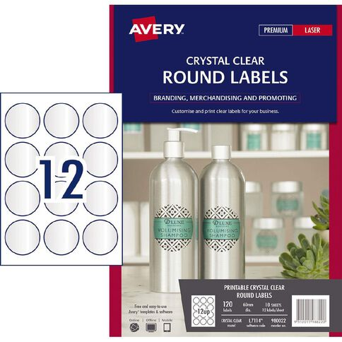 Avery Round Labels Crystal Clear 60mm Diameter 120 Labels