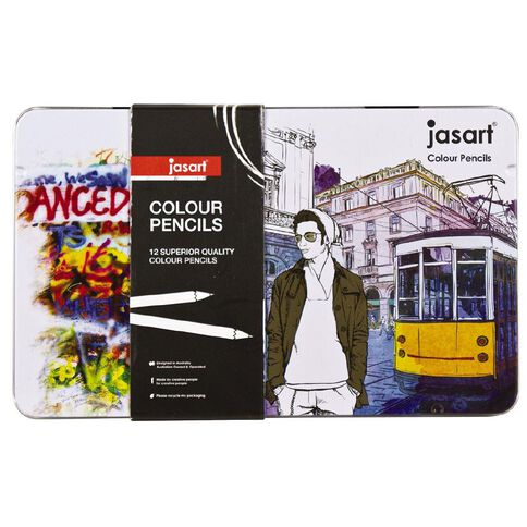 Jasart Coloured Pencils in Tin 12 Pack