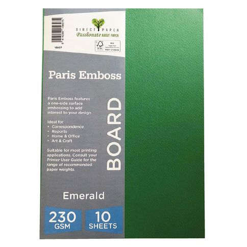 Direct Paper Paris Emboss 230gsm A4 10 Pack Emrald