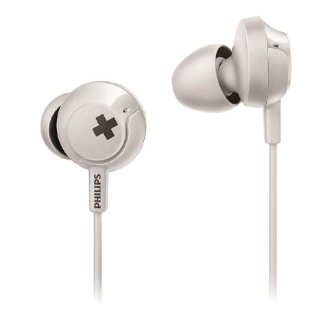 Philips In Ear Bass+ Earbuds with Mic White SHE4305W