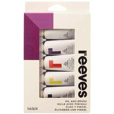 Reeves Oil Paint & Brush Set 5 Pack Multi-Coloured