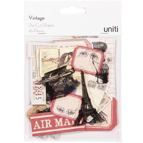 Uniti Vintage Cardstock Die Cut Shapes
