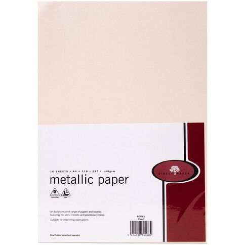 Direct Paper Metallic Paper 120gsm 10 Pack Coral A4