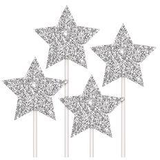 Artwrap Cake Topper Stars Silver 4 Pack