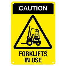 Impact Caution Forklift in Use Sign Small 340mm x 240mm