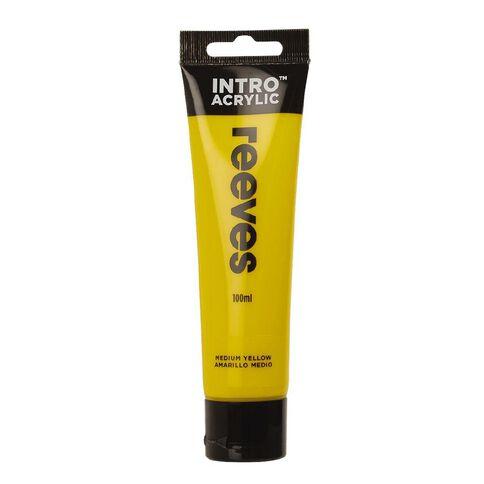 Reeves Intro Acrylic Paint Medium Yellow 100ml