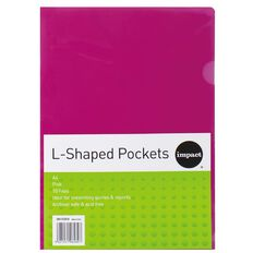 Impact L-Shaped Pockets 10 Pack Pink A4