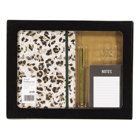 Uniti Fun & Funky Notebook Gift Set Animal Print In Gift Box 4 Pieces