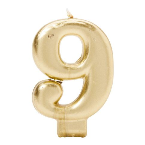 Candle Metallic Numeral #9 Gold