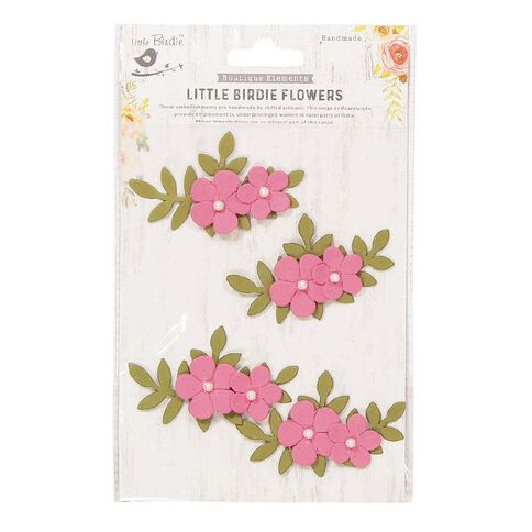 Little Birdie Flower Sticker Pearly Bluma Pink 4 Piece