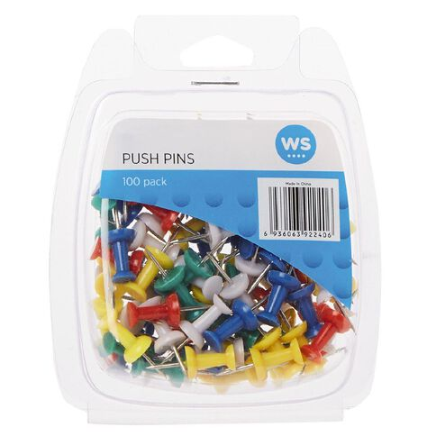 WS Push Pins 100 Pack Assorted