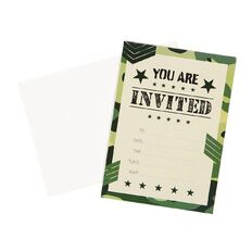 Party Inc Camo Invitations with Envelopes 17.5cm x 12.5cm 8 Pack