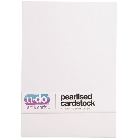 U-Do Value Cardstock Pearlised 250gsm 12 Sheets White A4
