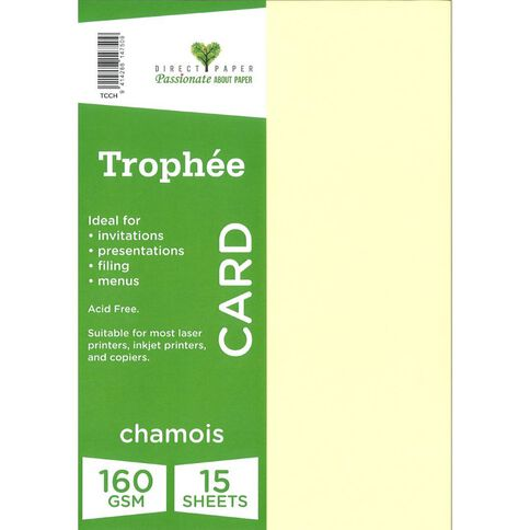 Trophee Card 160gsm 15 Pack Chamois A4