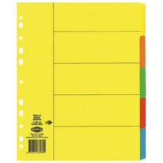 Marbig Dividers Manilla 5 Tab Extra Wide A4