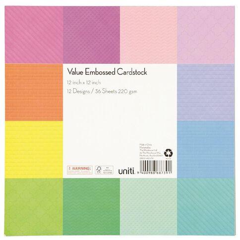Uniti Value Cardstock Embossed 12in x 12in 36 Sheets