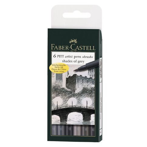 Faber-Castell 6 Pitt Artist Brush Pens Shades Of Grey