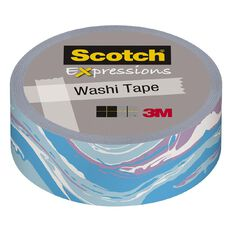 Scotch Washi Craft Tape 15mm x 10m Blue Marble