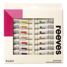 Reeves Paint Set Gouache 18 Pack Multi-Coloured