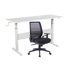 BUY 1 Workspace 1400 Sit 2 Stand Desk White & 1 Workspace Ergo Plus Meshback for $699