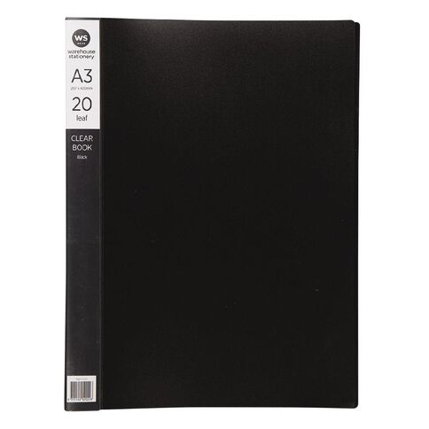 WS Clear Book 20 Leaf Black A3