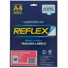 Reflex Rectangular Glossy Labels 18/Sheet 10 Pack White
