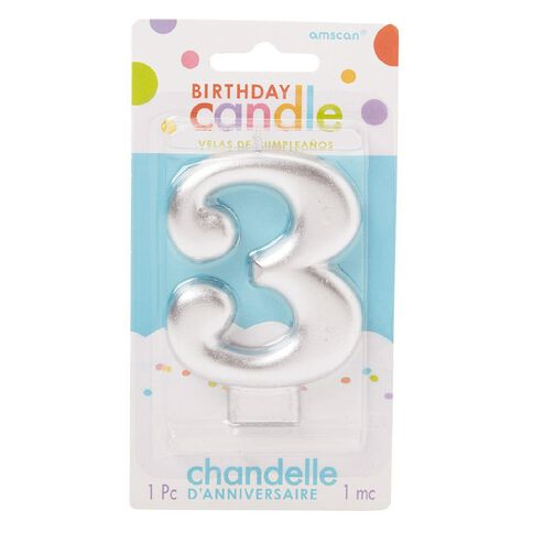 Candle Metallic Numeral #3 Silver