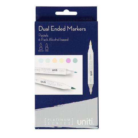 Uniti Dual Ended Markers Pastels 6 Pack