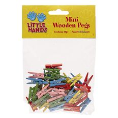 Little Hands Mini Wooden Pegs 50 Pack Multi-Coloured