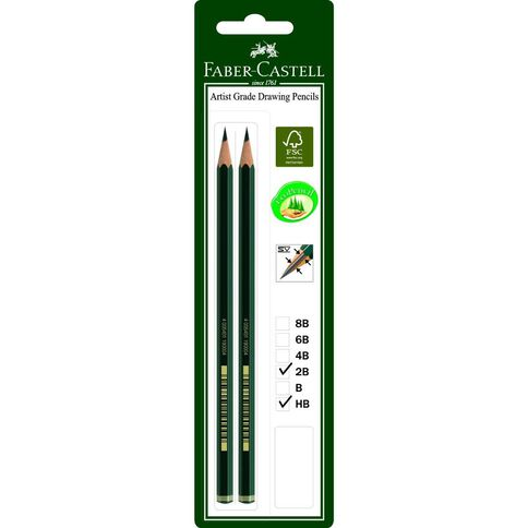 Faber-Castell Drawing Pencil 9000 2B HB 2 Pack Black